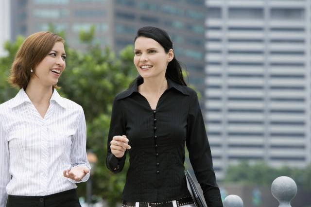 Women taking a work break and enjoying a walk