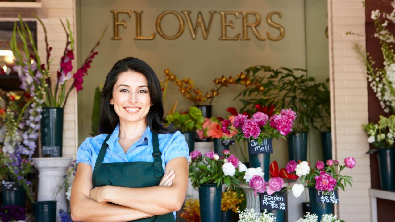 woman standing in flower shop