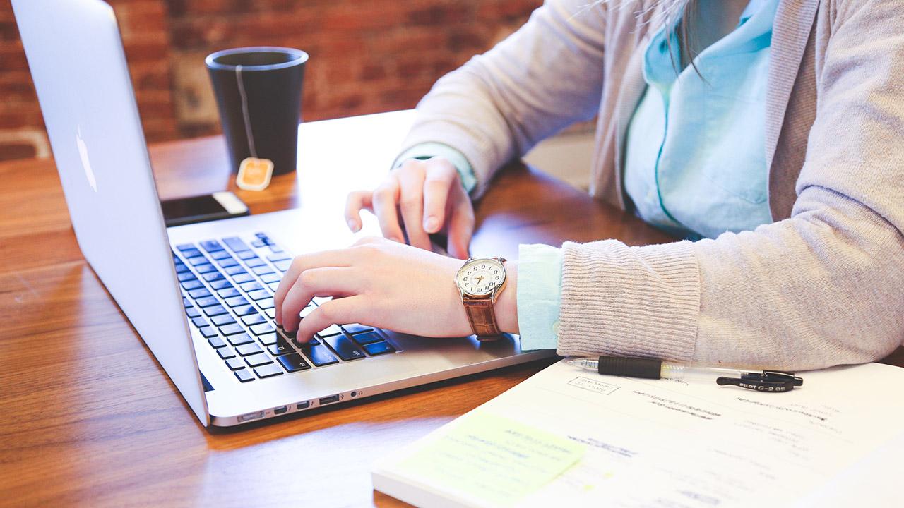 Woman uses computer