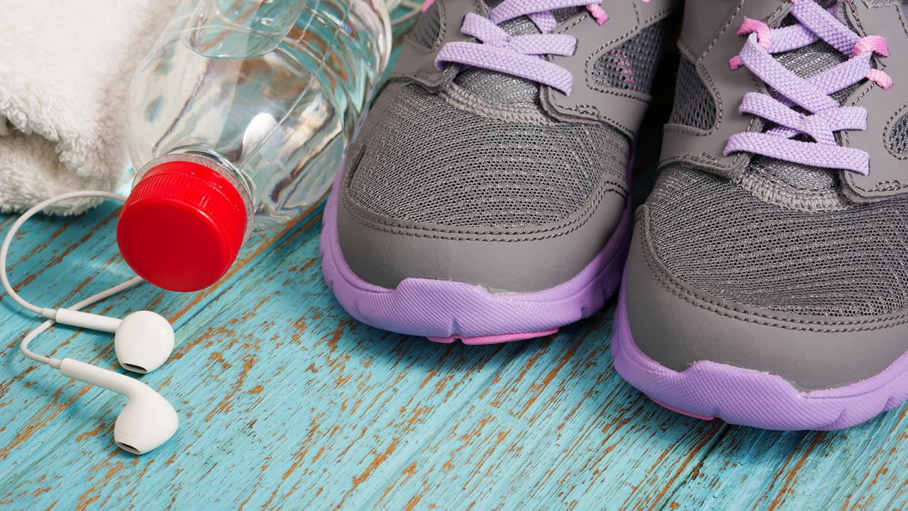 sneakers and fitness gear