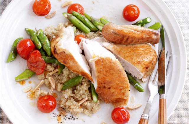 Roast chicken with spiced quinoa