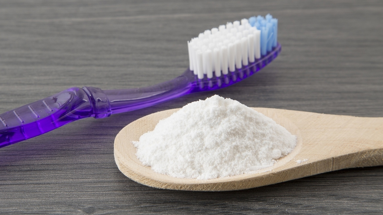 brush teeth with baking soda