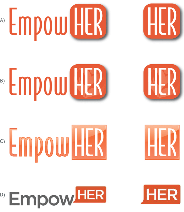 "Which of these logos and corresponding ""HER"" marks do you feel represents EmpowHER the best?"